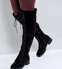 Ботфорты для широкой стопы на шнуровке Truffle Collection - Черный