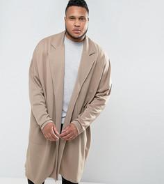 Длинная оversize-куртка из трикотажа ASOS PLUS - Бежевый