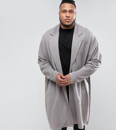 Длинная оversize-куртка из трикотажа ASOS PLUS - Серый