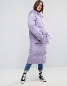 Длинная дутая куртка с карманами ASOS - Фиолетовый