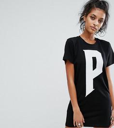 Черное платье-футболка Puma эксклюзивно для ASOS - Белый