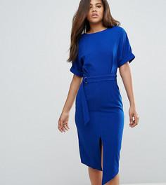 Тканое платье миди с D-образным кольцом ASOS TALL - Синий
