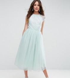 Платье миди для выпускного из кружевного тюля ASOS TALL - Зеленый