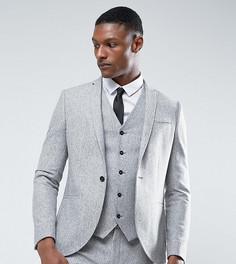Зауженный пиджак из донегаля в крапинку Noak TALL - Серый