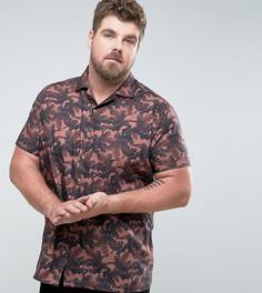 Приталенная рубашка с короткими рукавами и лацканами на воротнике Noose & Monkey PLUS - Розовый