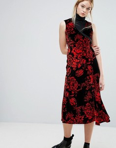 Бархатное платье миди Sportmax Code Garza - Красный