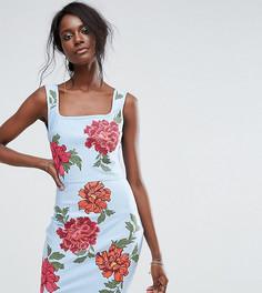 Бандажное платье с вышивкой Missguided - Синий
