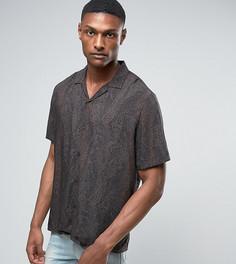 Свободная рубашка из вискозы с принтом пейсли ASOS TALL - Черный