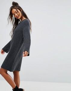 Вязаное оверсайз-платье мини ASOS - Серый