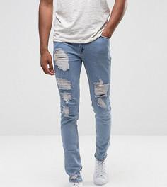 Светлые джинсы скинни в винтажном стиле с рваной отделкой ASOS TALL - Синий