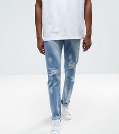 Светлые выбеленные джинсы слим в винтажном стиле с рваной отделкой ASOS TALL - Синий