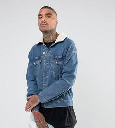 Синяя джинсовая оверсайз-куртка с воротником из искусственного меха Granted - Синий