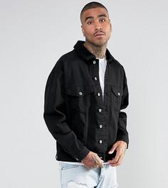 Черная джинсовая оверсайз-куртка с воротником из искусственного меха Granted - Черный