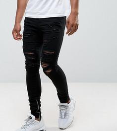 Черные состаренные джинсы скинни с молниями Granted - Черный