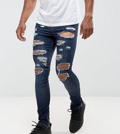 Темно-синие состаренные супероблегающие джинсы с молнией на манжетах Granted - Синий