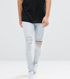 Голубые джинсы скинни с рваной отделкой и молниями Granted - Синий
