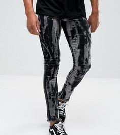 Черные выбеленные джинсы скинни с необработанными краями Granted - Черный