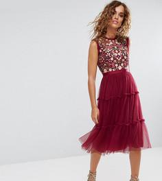 Декорированное платье миди с высоким воротом и юбкой из тюля Needle & Thread - Красный