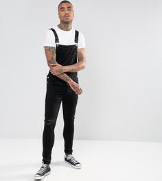 Черный джинсовый комбинезон скинни с рваной отделкой на коленях Granted - Черный