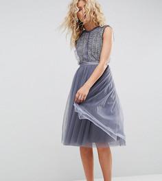 Тюлевое платье миди с отделкой Needle & Thread - Синий