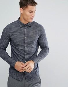 Трикотажная рубашка узкого кроя Selected Homme - Темно-синий