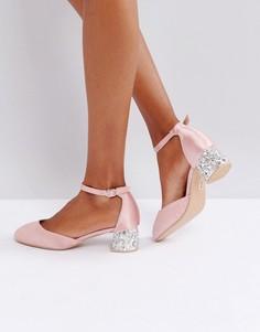 Туфли розоватого цвета на каблуке с декоративной отделкой Lost Ink - Розовый
