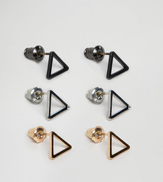 Набор из 3 пар серьг-гвоздиков треугольной формы DesignB London эксклюзивно для ASOS - Золотой