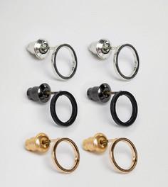 Набор из 3 пар круглых серег DesignB London эксклюзивно для ASOS - Золотой