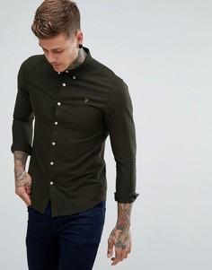 Зеленая приталенная оксфордская рубашка Farah Brewer - Зеленый