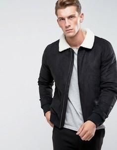 Куртка из искусственной замши с воротником из искусственного меха Only & Sons - Черный