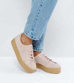 Замшевые кроссовки для широкой стопы на шнуровке ASOS DAY LIGHT - Розовый
