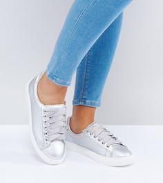 Серебристые кроссовки для широкой стопы на шнуровке Lost Ink - Серебряный