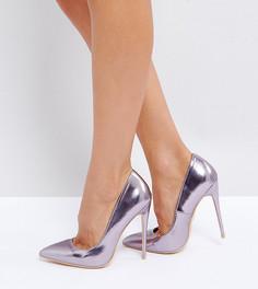 Сиреневые туфли-лодочки металлик для широкой стопы Lost Ink - Фиолетовый