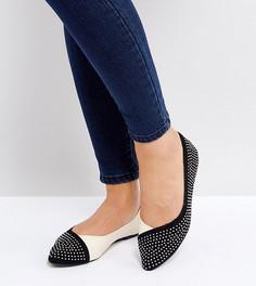 Туфли для широкой стопы на плоской подошве с контрастными заклепками Lost Ink - Мульти