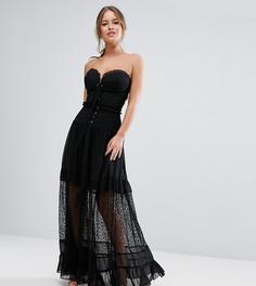 Платье-бандо макси с корсетом White Cove Petite - Черный