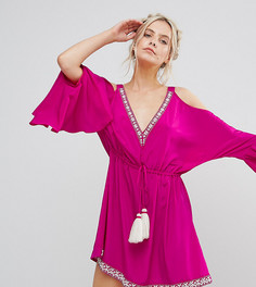 Платье с декоративной отделкой и открытыми плечами White Cove Petite - Розовый