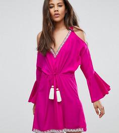 Платье с декоративной отделкой и открытыми плечами White Cove Tall - Розовый
