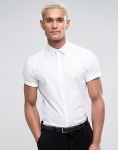 Белая узкая рубашка с короткими рукавами ASOS - Белый