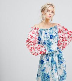 Платье мини с открытыми плечами, расклешенными рукавами и цветочным принтом White Cove Petite - Мульти
