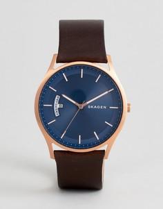 Часы со светло-коричневым кожаным ремешком Skagen SKW6395 - Рыжий