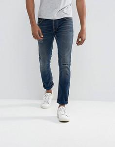 Выбеленные рваные джинсы скинни Nudie Jeans Co Tilted Tor Mended Soul - Синий