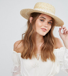 Соломенная шляпа с отделкой кружевом кроше South Beach - Бежевый
