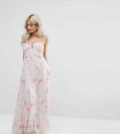 Платье макси с открытыми плечами и цветочным принтом Boohoo Petite - Мульти