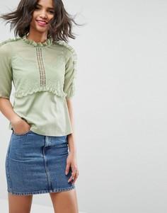 Чайная шифоновая блузка с кружевом и оборками ASOS - Зеленый