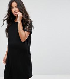 Платье-футболка с кружевными рукавами реглан ASOS Maternity - Черный