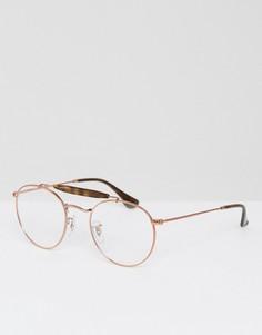 Темно-коричневые круглые очки Ray-Ban 0RX5283 - Золотой