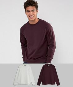Набор из 2 свитшотов серого меланжевого и бордового цвета ASOS, СКИДКА - Мульти