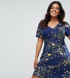 Чайное платье с принтом бабочек и кружевной отделкой Yumi Plus - Темно-синий