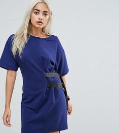 Платье-футболка с D-образными кольцами ASOS PETITE - Темно-синий