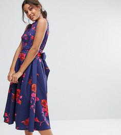 Платье миди с цветочным принтом и юбкой-клеш True Violet Debutante - Мульти